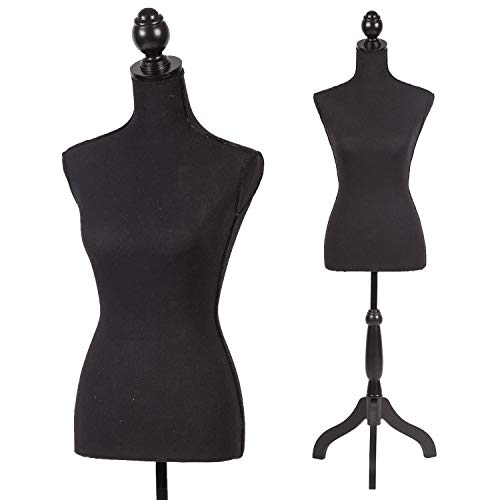 Mannequin Torso Manikin Dress Form 60-67 Inch Height Adjustable Female Dress Model Display Torso Body Tripod Stand Clothing Forms, Black