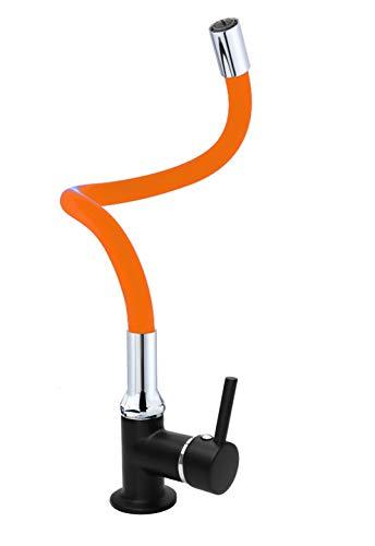 ATCO RONDO - Grifo monomando para lavabo (silicona, para invitados), color negro y naranja