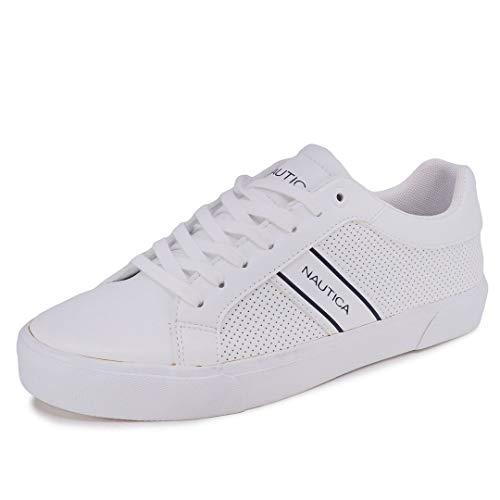 Nautica Men's Trimble Casual Lace-Up Shoe,Classic Low Top Loafer, Fashion Sneaker-White-10.5