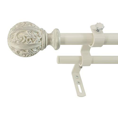 "Montevilla Leaf Ball Curtain Rod, 26-48"", Distressed Ivory"