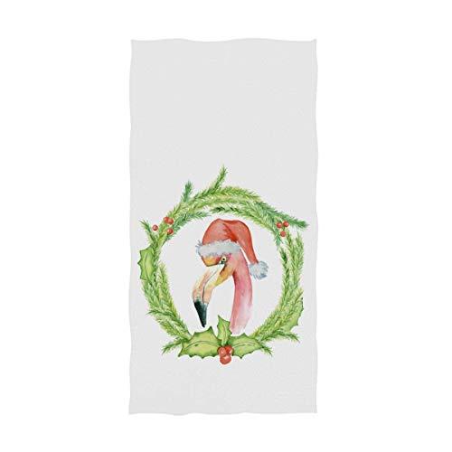 Bert-Collins Navidad Pink Flamingo Santa Hat Toallas de Mano de Acuarela Flamingo Coronas Florales Toalla de baño Toalla de baño Toallas de Dedo absorbentes (40x70cm)