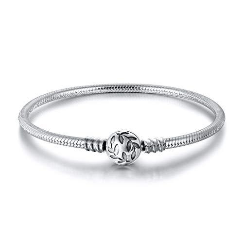 Sterling Silber Schlangenkette Armband mit Olive Leaf Ball Charms für Pandora European Charm (17 cm)