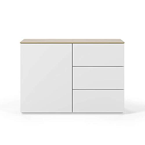 Buffets Design et élégants, Collection Join, signée TEMAHOME. - Join 120H2, Base Classique, Blanc Mat, Plateau en chêne