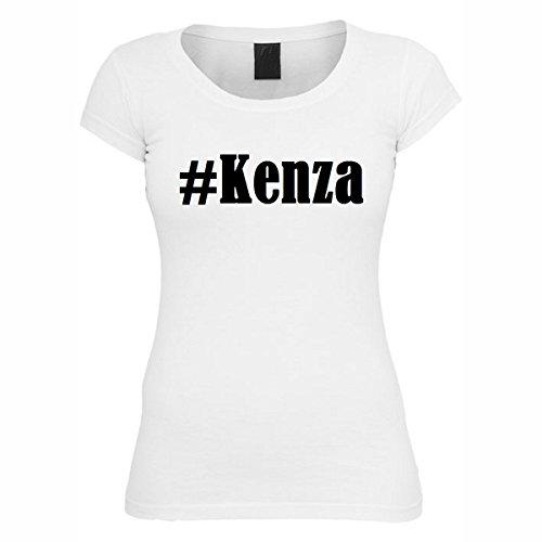Camiseta #Kenza Hashtag con rombos para mujer, hombre y niños en los colores blanco y negro Blanco L