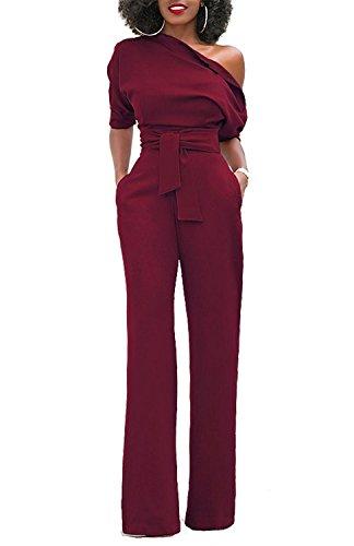 Minetom - Tuta da donna, a maniche corte, con cintura, spalla scoperta, gamba larga, lunga, resistente, elegante Bordeaux 42
