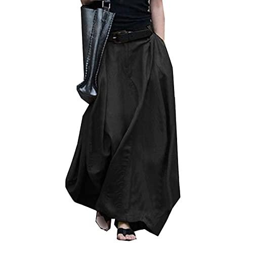 Falda Larga De Moda Verano Falda Larga De Media Longitud Falda De Gran Swing Falda De Una LíNea Falda Larga De Cintura Alta para Mujer