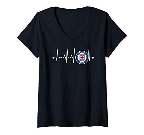 Womens Latido Cruz Azul Shirt Orgullo Mexicano V-Neck T-Shirt