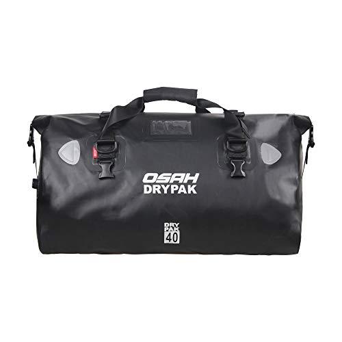 多機能キャリアバッグ ショルダーストラップ付き 反射テープ付き ワンタッチ装着 防水 軽量 丈夫 完全防水 ドラムバッグ ツーリングシートバッグ オートバイ アウトドア (40L ブラック(500D))