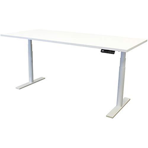 newpo elektrisch höhenverstellbarer Schreibtisch mit Tischplatte | BxT 180 x 80 cm | weiß | Stehtisch Bürotisch Tisch-Gestell