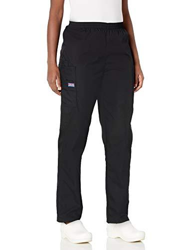 Cherokee Women's Workwear Elastic Waist Cargo Scrubs Pant, Black, Medium