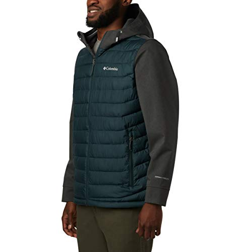 Columbia Men's Powder Lite Hybrid Insulated Jacket , Night Shadow, Shark Heather ,X-Large