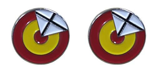 Gemelolandia | | Pack 2 Pins de Solapa Escarapela Española con Aspas 16mm | Pines Para las Camisas, Chaquetas, Americanas o Jerséis | Detalles Para Regalos