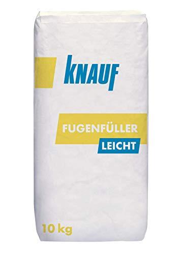 Knauf Fugenfüller leicht zum Verspachteln von Gipsplatten mit HRK/HRAK, mit Fugen-Deckstreifen, 10 kg – Gips-Spachtel, sehr ergiebige Füllspachtel-Masse