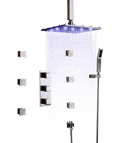 Review Of GTYUF-K 16'' LED Rain Shower System Ceiling Mount Rainfall Shower Head & 6 Body Sprays & H...