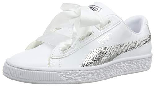 Puma Mädchen Basket Heart Bling JR Sneaker, Weiß White Silver 02, 38 EU