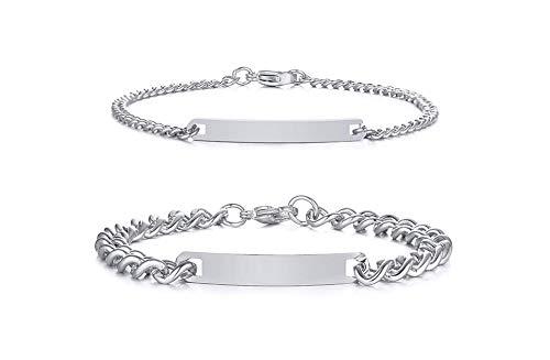 VNOX 2 Stück Personalisierte Gravur Anpassen Paar Armbänder Schwester Armbänder Familie Armbänder