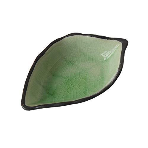 XUSHEN-HU cerámica Plato de cerámica pequeña vajilla de Cocina Multifuncional Vinagre Plato del condimento del Plato de cerámica Creativa del Plato Snack-4 Placa Verde 11X7X3Cm Clásico