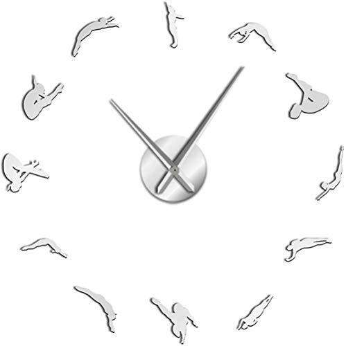 Reloj De Pared Reloj De Pared Cocina High Dive Deportes Arte De La Pared Decoración Del Hogar Reloj Reloj Buzos Buceo Silueta Pegatinas De Bricolaje Sin Marco Reloj De Pared Grande Regalo Para Buzos A