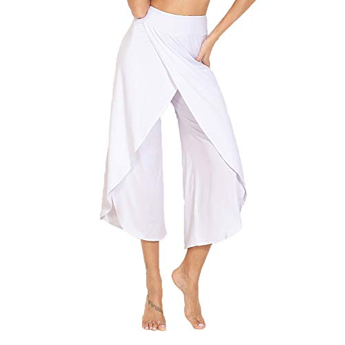 YOFIT Women's High Waist Palazzo Trousers Elegant Wide Leg Bootleg Pants Baggy Trousers Harem Pants Long Loose Flared Pants White M