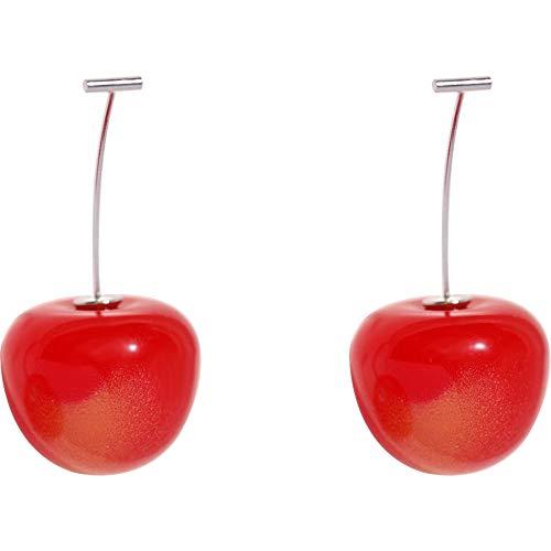 Ohrringe für Mädchen/Damen Ohrringe, 925er Sterlingsilber, handgefertigt, Kirschohrringe, Temperament langen Abschnitt super süße süße einfache Ohrringe Geschenk