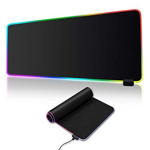 Gaming Mauspad RGB Mauspad mit 7 LED Farben 14 Beleuchtungs-Modi Wasserdichter Mouse Mat Anti Rutsch Matte für Computer PC Gamer 900 x 400 x 4mm