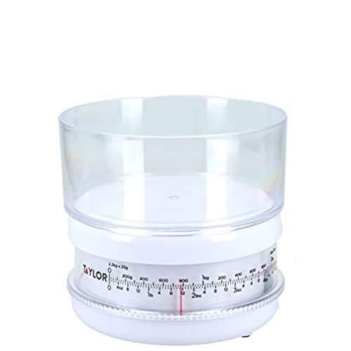 Taylor Balanza Compacta Mecánica de Cocina con Recipiente, Gran Precisión, Función de Peso con Tara, Blanco, 2.2 kg de Capacidad