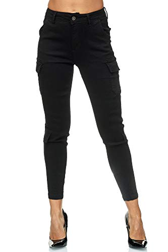 Elara Damen Cargo Hose Slim Fit Denim Chunkyrayan 753-2B Black 38 (M)