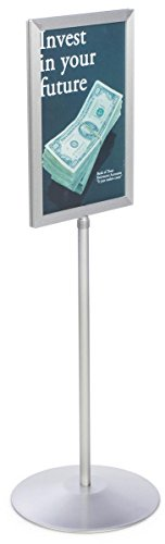 Pedestal Sign Holder Stand with Telescoping Post, Double-Sided Poster Frame for 11x17 Graphics, Top-Loading Design - Silver, Aluminum