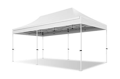 ACTIEXPRESS Tente Pliante 3X6 Structure en Acier 30mm Toit 300g/m² 100% étanche (Blanc)