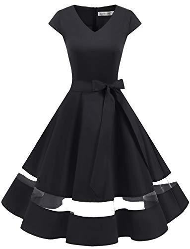 Gardenwed 1950er Vintage Retro Rockabilly Kleider Petticoat Faltenrock Cocktail Festliche Kleider Cap Sleeves Abendkleid Hochzeitkleid Black XL