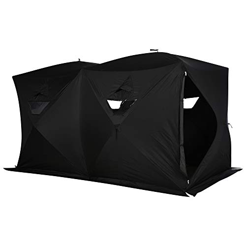 Outsunny 8 Person Waterproof Portable Pop-Up Ice Fishing Shelter with 2 Doors - Black