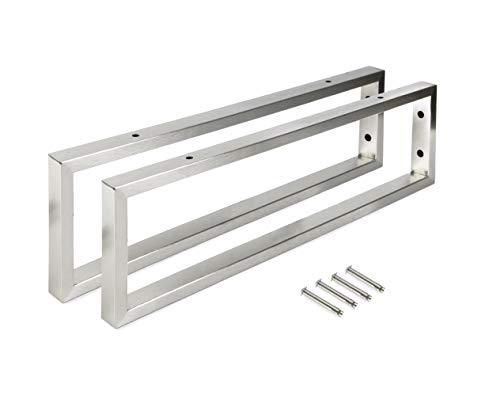 Montixx® Wandkonsole & Handtuchhalter 2er-Set in rechteckige Form aus Edelstahl für Waschtischhalterung/Unterbau für Wassertischplatt und Waschbecken L40CM x H15CM