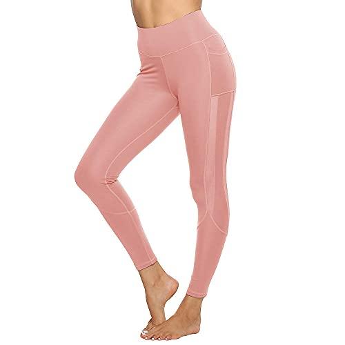 ArcherWlh Yoga Pantalones,Bolsillo Lateral Long Mesh Stitching Deportes Yoga Leggings-Polvo Superficial_S