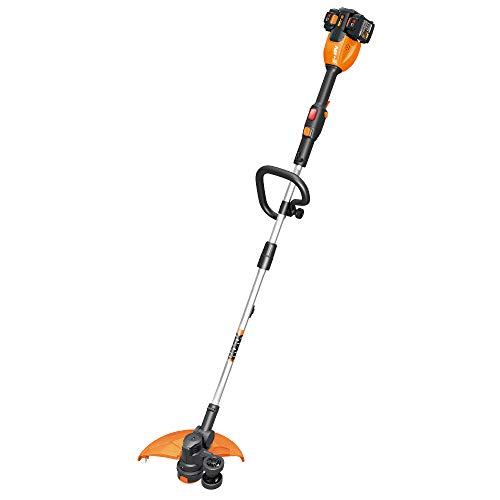 """WORX WG184 40V Power Share 13"""" Cordless String Trimmer & Wheeled Edger (2x20V Batteries), black and orange"""