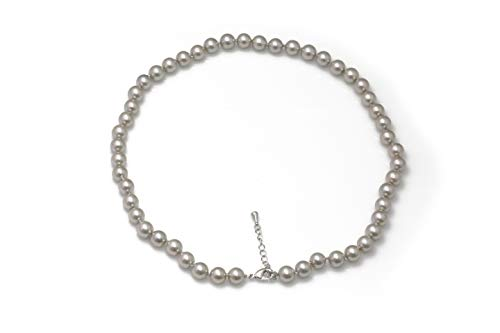 Schmuckwilli Südsee Tahiti Damen Muschelkernperlen Perlenkette aus echter Muschel silber 45cm 8mm mk8mm117-45