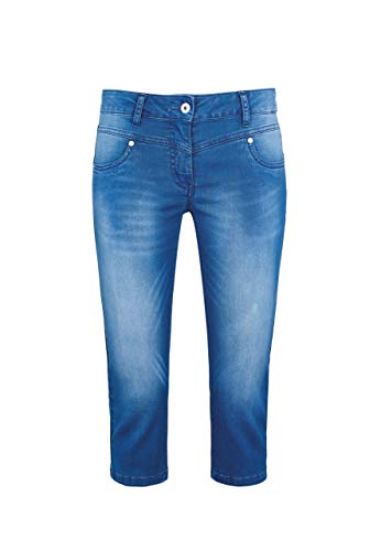 Million X Damen Jeans Push up Capri Victoria Dark 36, mid Stone