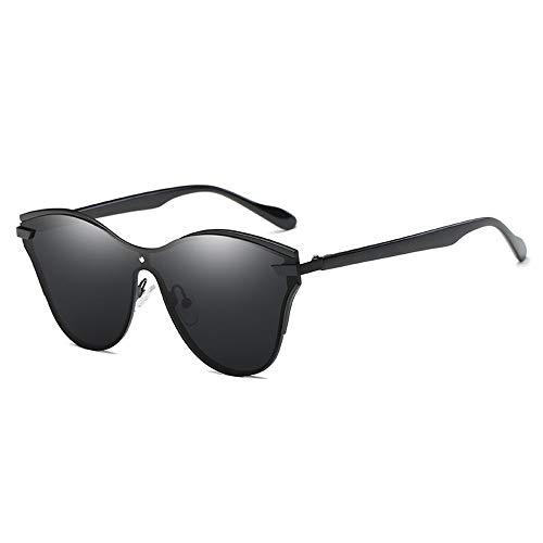 FAGavin Gafas de sol polarizadas Conjoined Retro Curvado Marco Grande Unisex Protección UV400 (Color: Negro)