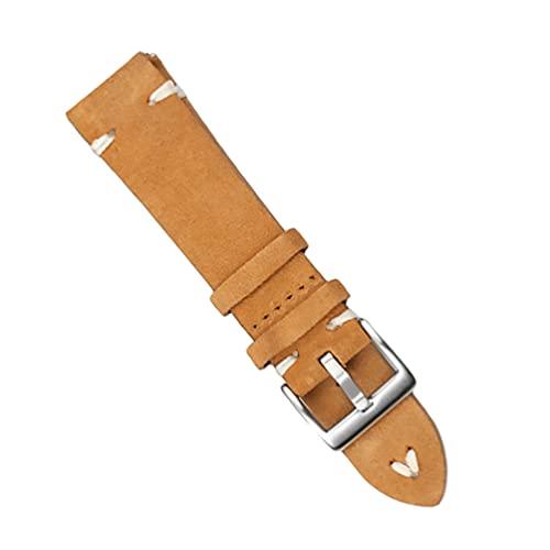 Hemobllo Leder Uhr Band 20Mm Vintage Rindsleder Universal Uhr Strap Öl Wachs Quick Release Ersatz Armband Gürtel für Mann Frauen Gelb