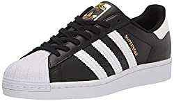 Adidas Men's Superstar Black, White Stripe, Metallic Color - Front View