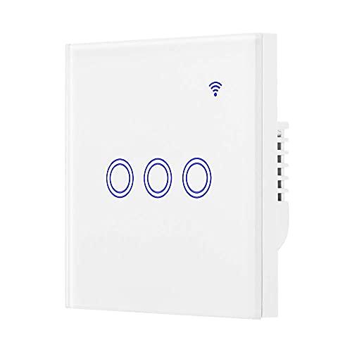 Interruptor wifi Interruptores de toque inteligente Interruptor de luz de pared inteligente compatible con Alexa y Google Home Remote Control WiFi Interruptores de luz de pared ( tamaño : 3Gang )
