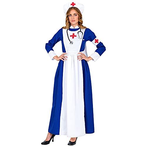 WIDMANN 10791 - Disfraz de enfermera retro con vestido, gorro y brazalete para mujer, médico, carnaval, fiesta temática, multicolor, talla S