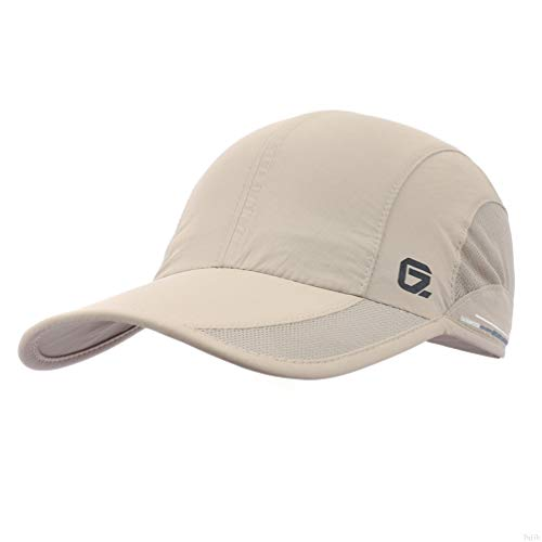 GADIEMKENSD Quick Dry Sports Hat Lightweight Breathable Soft Outdoor Run Cap (Classic up, Khaki)