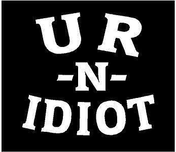 White Vinyl Decal - You Are an Idiot u r n Truck Fun Sticker Country Funny, Die Cut Decal Bumper Sticker for Windows, Cars, Trucks, Laptops, Etc.