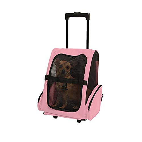 Pet Backpack Trolley, Portable Cat Dog Carry Bag Luggage Box Backpack with Wheels Telescopic Handle Comfortable Breathable Backpack Red/Blue/Pink, 36 x 30 x 49 cm Blue Size: Small