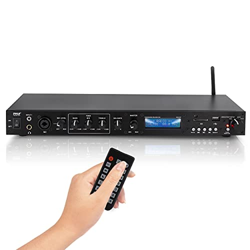 Pyle Rack Mount Studio Pre-Amplifier - Audio Receiver System w Digital LCD Display Bluetooth FM Radio Recording Mode Remote Control USB Flash or SD Card Reader Input and Output Jack - PPRE70BT