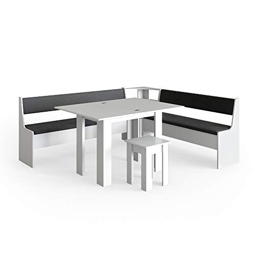 Vicco Eckbankgruppe Roman Esszimmergruppe Eckbank Sitzgruppe Tisch Hocker (Weiß, 210x180cm)