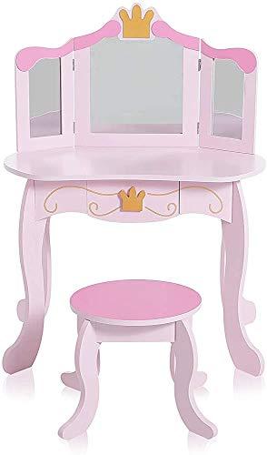 Anspruchsvolle und schickes Design Kommode Kinder Kommode Mädchen Make-up Spiel Garderobe und Spiegel Klappstuhl,Pink