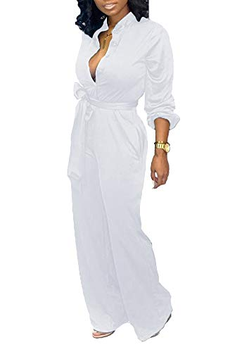 Tbahhir Women's Wide Leg Jumpsuits Elegant Long Sleeve Button Rompers High Waisted Palazzo Flare Pants Suit