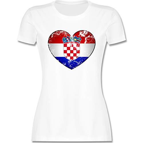 Fussball EM 2021 Fanartikel - Kroatien Vintage Herz - S - Weiß - Kroatien Trikot - L191 - Tailliertes Tshirt für Damen und Frauen T-Shirt