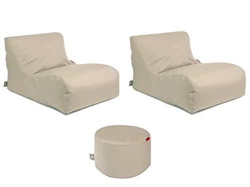 Outbag Sitzsack-Set l 2 Newlounge l Hocker Rock l Garteninsel Beige